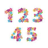 Floral nummers — Stockvector