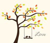älska träd — Stockvektor