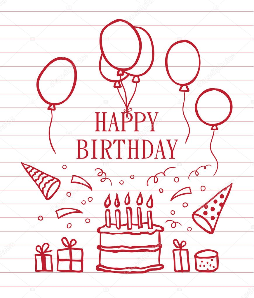 Happy Birthday Doodle Card : 誕生日カード ダウンロード : カード
