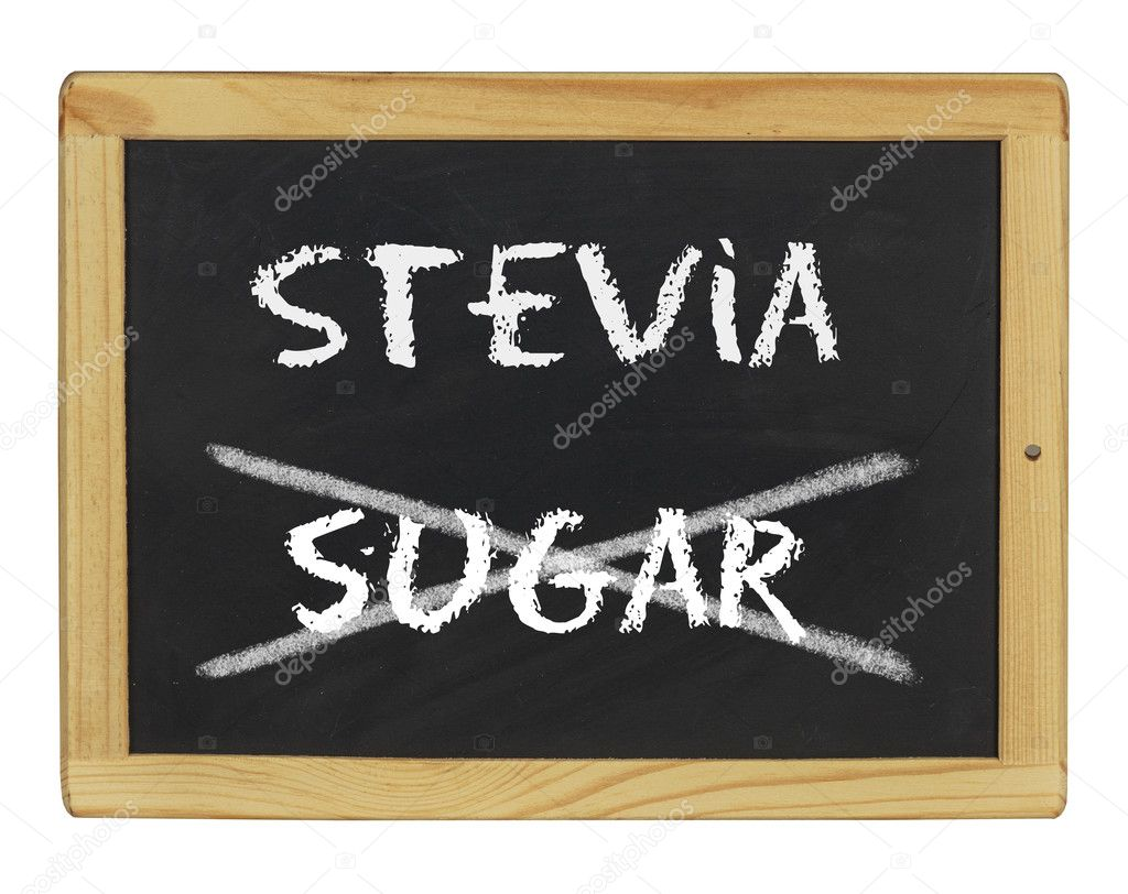 A chalkboard with stevia and sugar written on it — Stock Photo #10689156