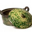 Ceramic pot with lid glazed brown and green — Stock Photo