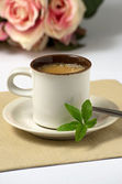 Espresso with stevia leaves — Stock Photo