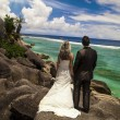 Bride and groom looking out over the ocean — Stock fotografie