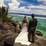 新娘和新郎望着海洋 — 图库照片