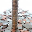Tall column of us quarters. — Stock Photo
