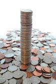 Tall column of us quarters. — Stock Photo
