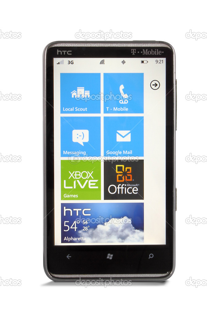 Windows Phone 7.5 (Mango-light theme) with drop shadow. — Stock Photo #10700752
