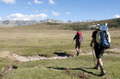 Trekkers on the GR20 - Corsica — Stock Photo