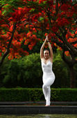 A beautiful woman practising yoga outdoors — Stock Photo