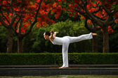A beautiful woman practising yoga balance — Stock Photo