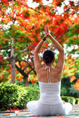 Beautiful young woman practising yoga outdoors — Stock Photo