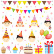 Stock Vector: Birthday party elements