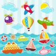 Sea and air transport - Stock Vector