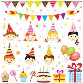 Birthday party elements — Stock Vector