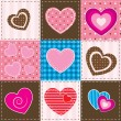 Patchwork with textured hearts — Stock Vector