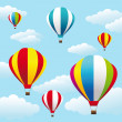 Stock Vector: Colorful air balloons on blue sky