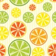 Seamless background with lemon, lime, orange and grapefruit — Stock Vector