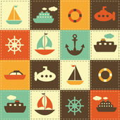Patchwork background with sea transport — Stockvektor