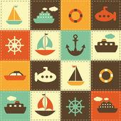 Tle mozaiki z transportu morskiego — Wektor stockowy