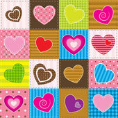Colorful patchwork with hearts — Stock Vector