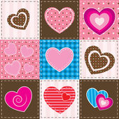 Patchwork with textured hearts — Stockvector