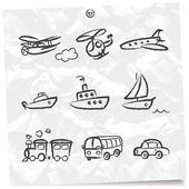 Doodle transport set — Stock Vector