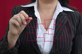 Businesswoman With Red Drawing Chart — Stock Photo