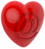3d heart internet email — Stock Photo