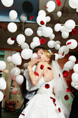 Happy bride and groom in wedding celebration — Stock Photo