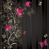 Vintage dark striped  elegance frame with gold floral border and butterflies (vector)