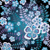 Seamless black and white-blue floral pattern with flowers and leaves (vector EPS 10)