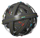 Viaggi, trasporti e concetto di navigazione GPS: gomitolo di strade con le auto di colore isolato su sfondo bianco