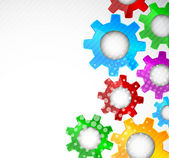 Bright background with color gears and circle
