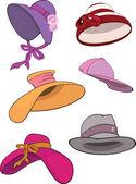 Die komplette Reihe von weiblichen Hüte