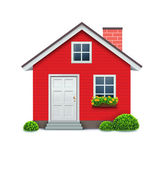 Vector illustration of cool detailed red house icon isolated on white background