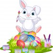 thumbnail of Easter. Bunny sitting on eggs