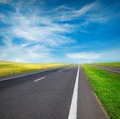 Zelená pole a silniční