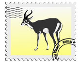Vector stamp with the image of an gazelle