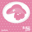 Vector baby girl scrapbook arrival card