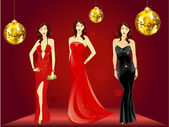 Vector illustration of a beautiful girl in three diffrent style dress walking on red carpet