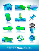 Vector illustration of 3D web 20 mail icons set in green and blue color Can be used for websites web applications email applications or server Icons
