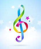 Colored glossy ribbons in the shape of treble clef - vector illustration