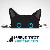 Black Cat looking above banner vector illustration