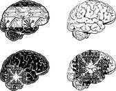 Set Of Four One Color Electronic Brain Side View