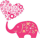 Abstract vector illustration with elephant and hearts
