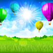 thumbnail of Spring landscape with hot air balloons