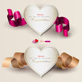 Collection of gift cards with ribbons Vector background