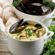 thumbnail of Mussel soup with saffron and cream sauce