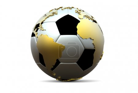 Постер, плакат: 3d soccer ball with golden continents, холст на подрамнике