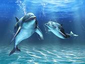 Due delfini felicemente nuotare nelloceano. Illustrazione digitale